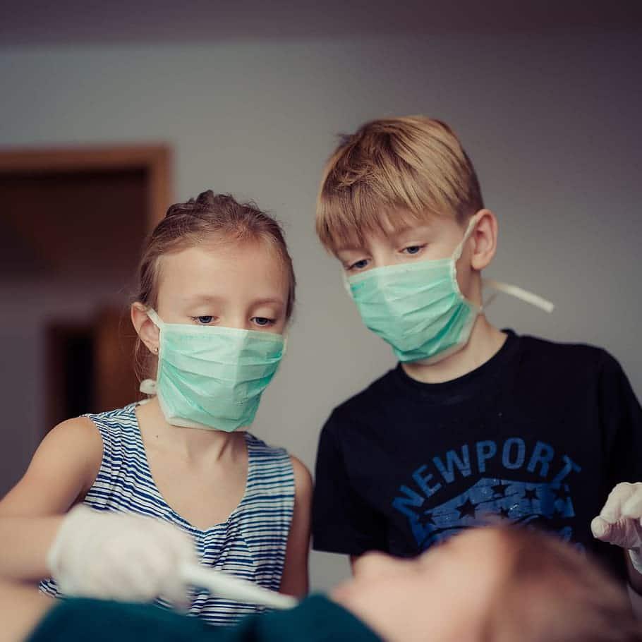 Children wearing masks