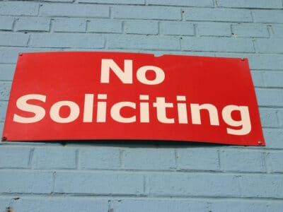 A sign that reads NO SOLICITING