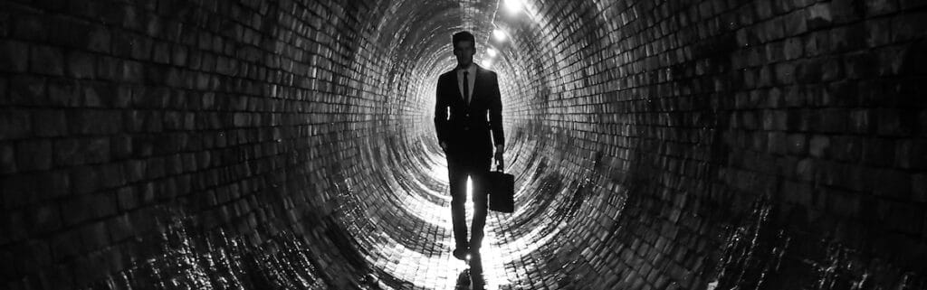 a spy in a tunnel